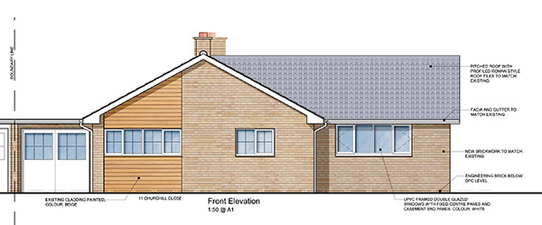 Front Elevation Extension : Bungalow extension receives planning warwickshire rag